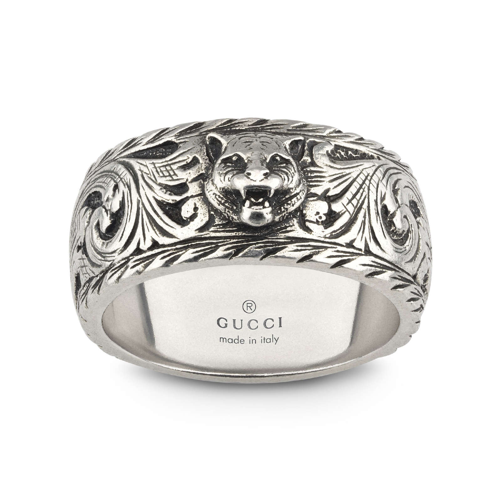 Gucci Gatto Thin Silver 10mm Ring with Feline Head - Ring Size P