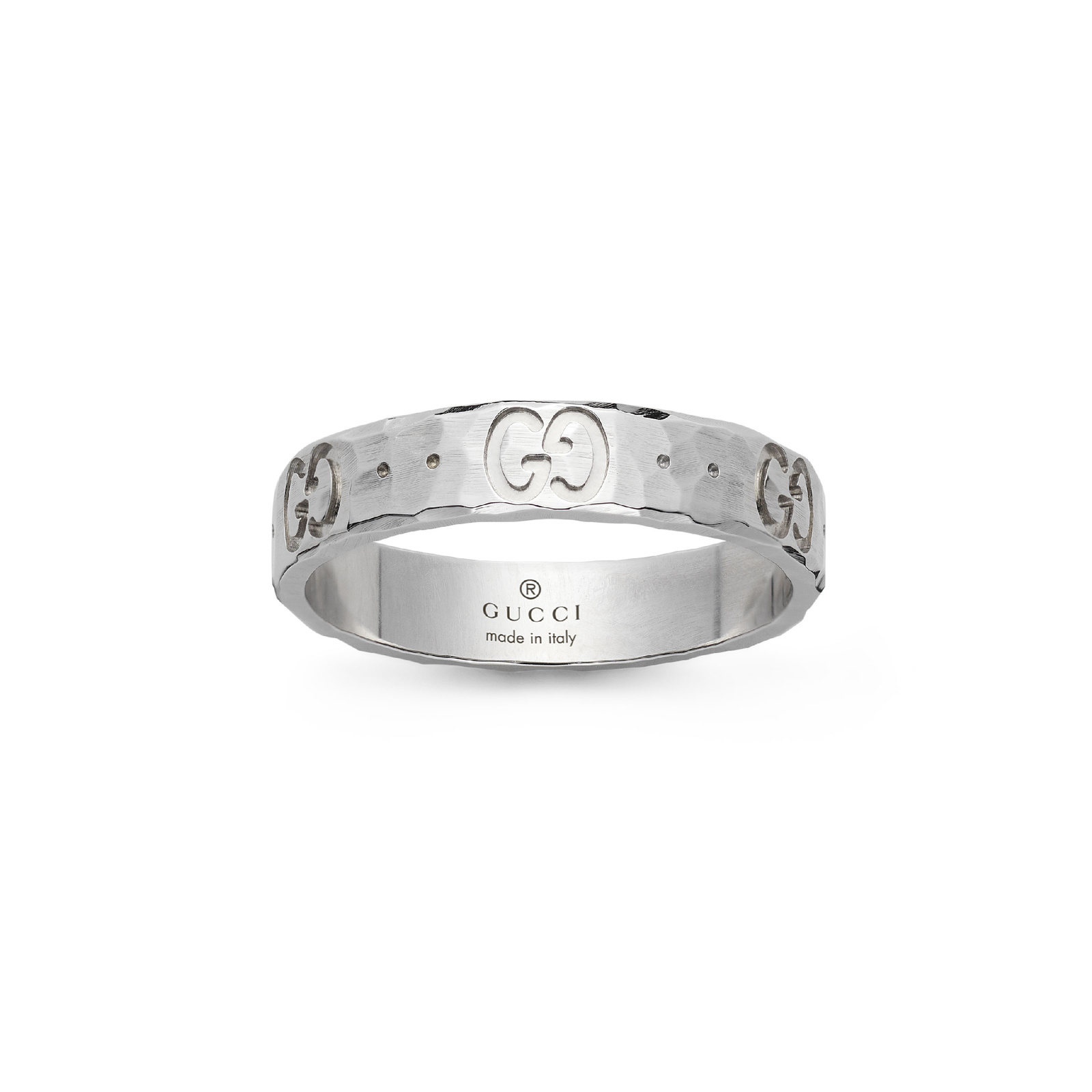 Gucci Icon Hammered 18ct White Gold 4mm Ring - Ring Size L