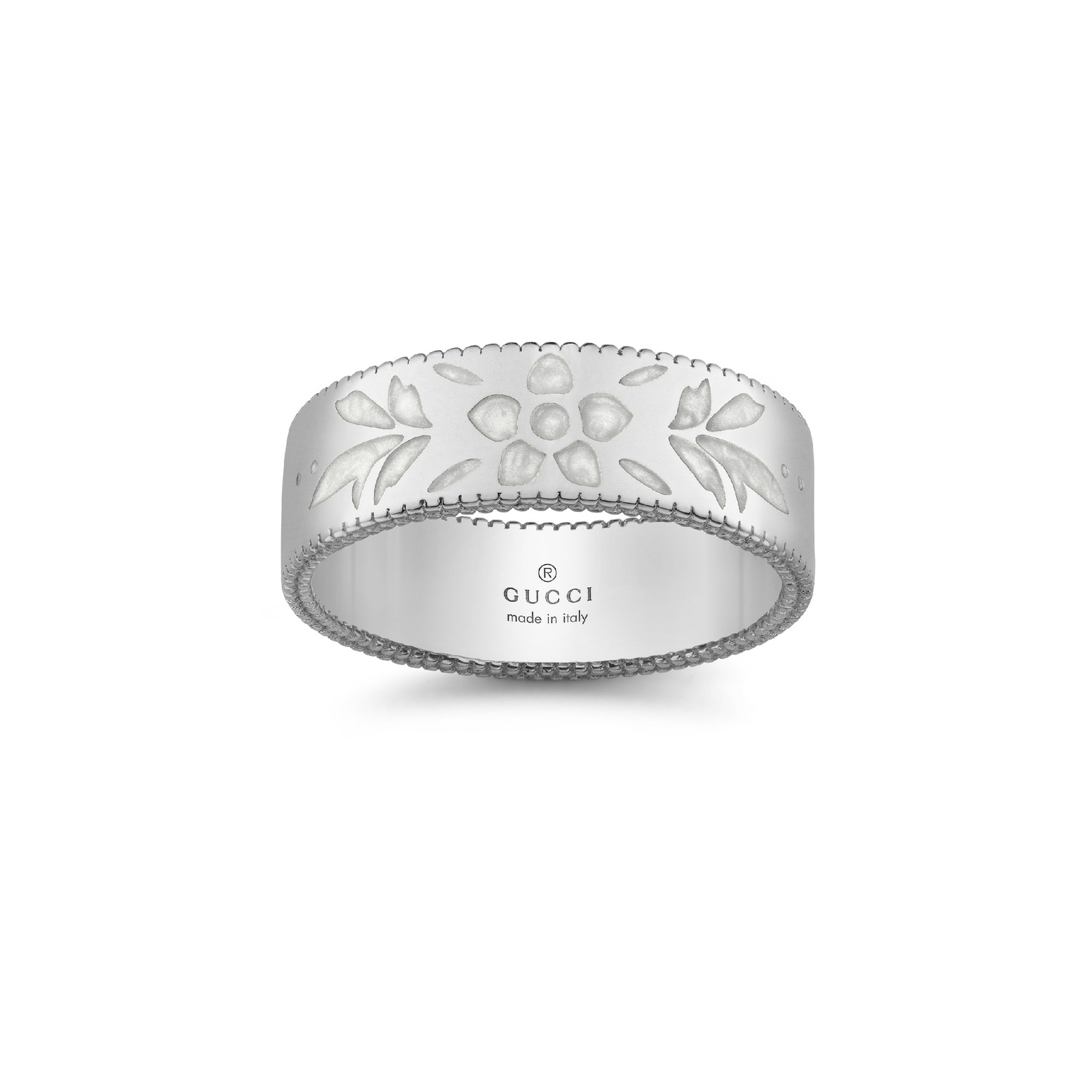 Gucci Icon 18ct White Gold Enamel 6mm Ring - Ring Size N/O