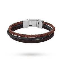 Fossil Mens Casual Brown Multi Leather Strap Bracelets