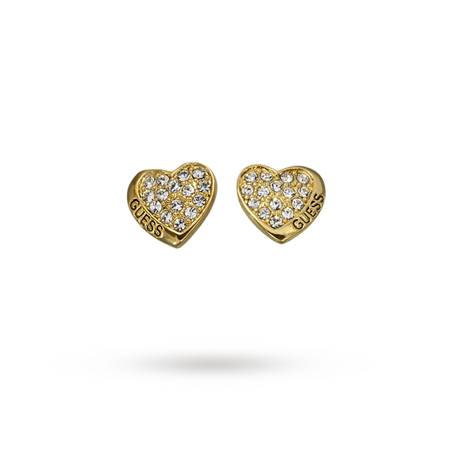 Guess Gold Plated Crystal Set Heart Earrings