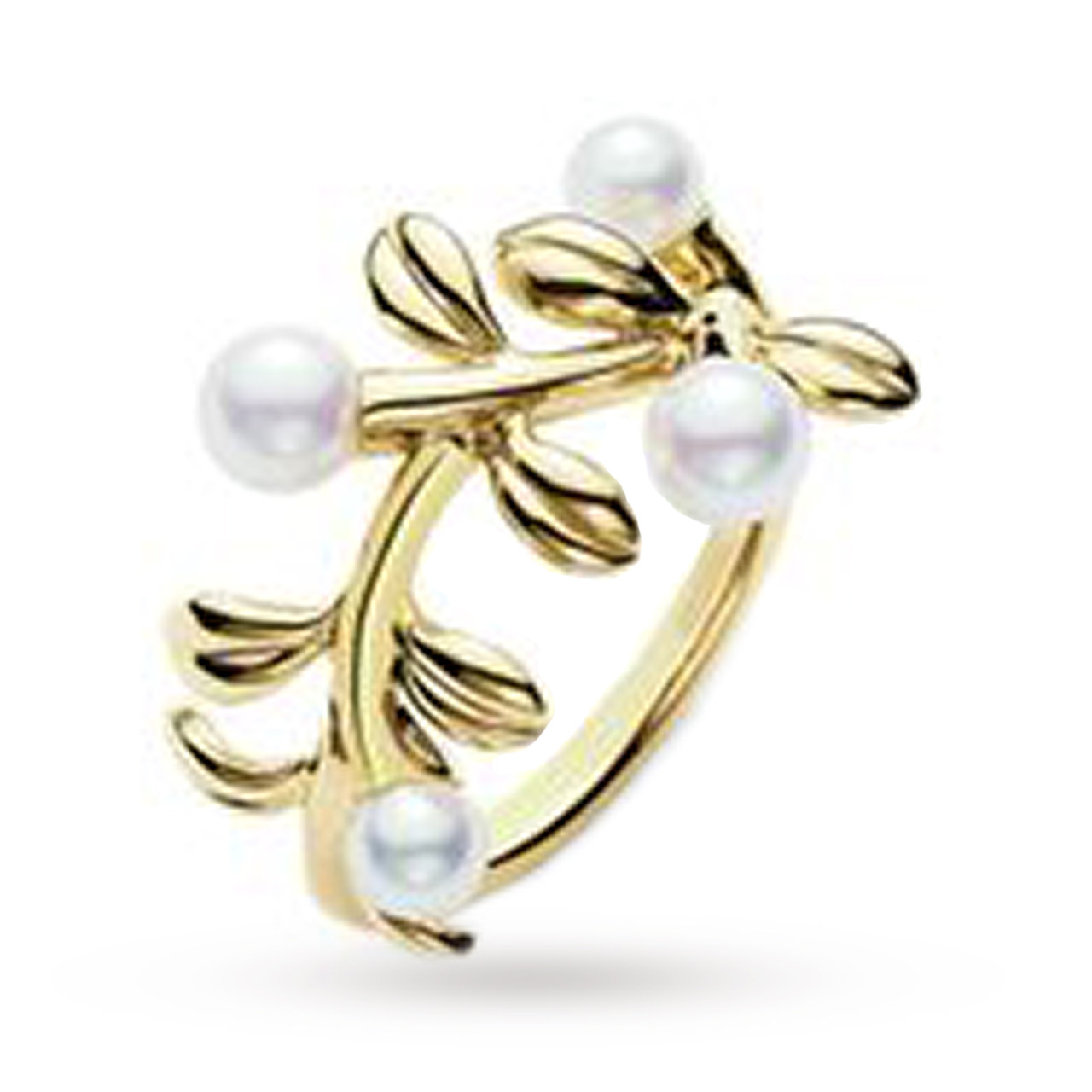 Mikimoto Ring Pearl Branch 18ct Yellow Gold - Ring Size M