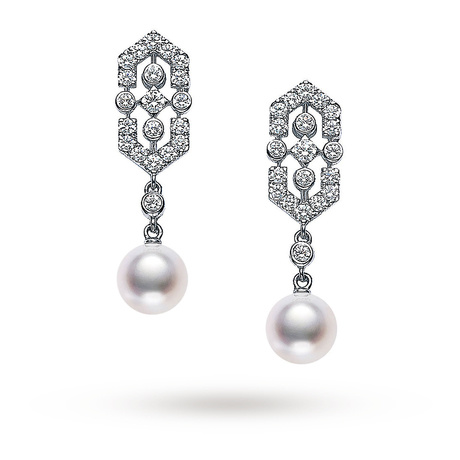 Mikimoto Art Deco Drop Earrings