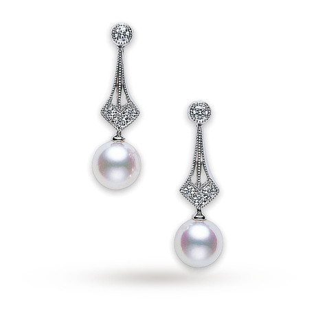 Mikimoto Pearl Vintage Drop Earrings