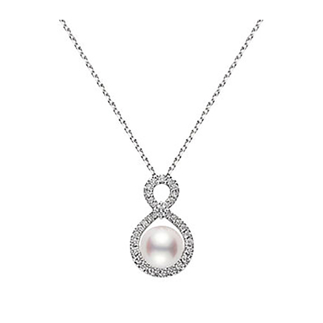 Mikimoto Pearl and Diamond Pendant