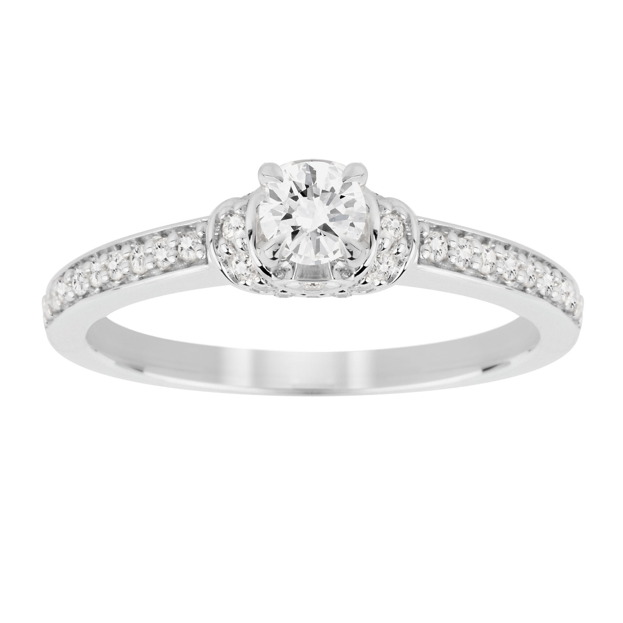 Jenny Packham Brilliant Cut 0.45 Carat Total Weight Diamond Art Deco Style Ring in 18 Carat White Go