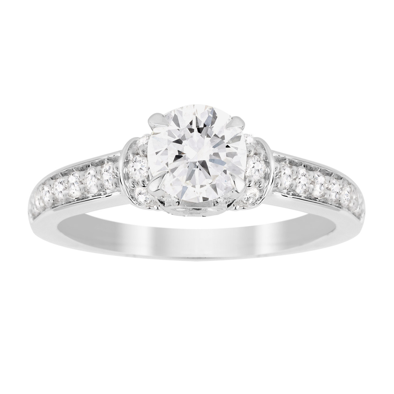 Jenny Packham Brilliant Cut 1.14 Carat Total Weight Diamond Art Deco Style Ring in 18 Carat White Go