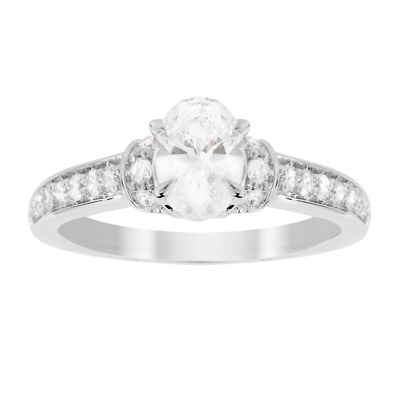 Jenny Packham Oval Cut 0.85 Carat Total Weight Diamond Art Deco Style Ring in 18 Carat White Gold