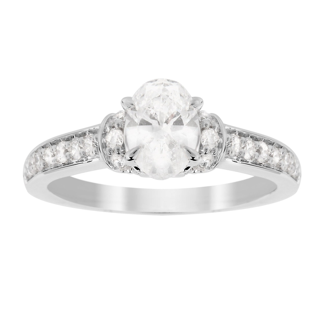 Jenny Packham Oval Cut 1.14 Carat Total Weight Diamond Art Deco Style Ring in 18 Carat White Gold