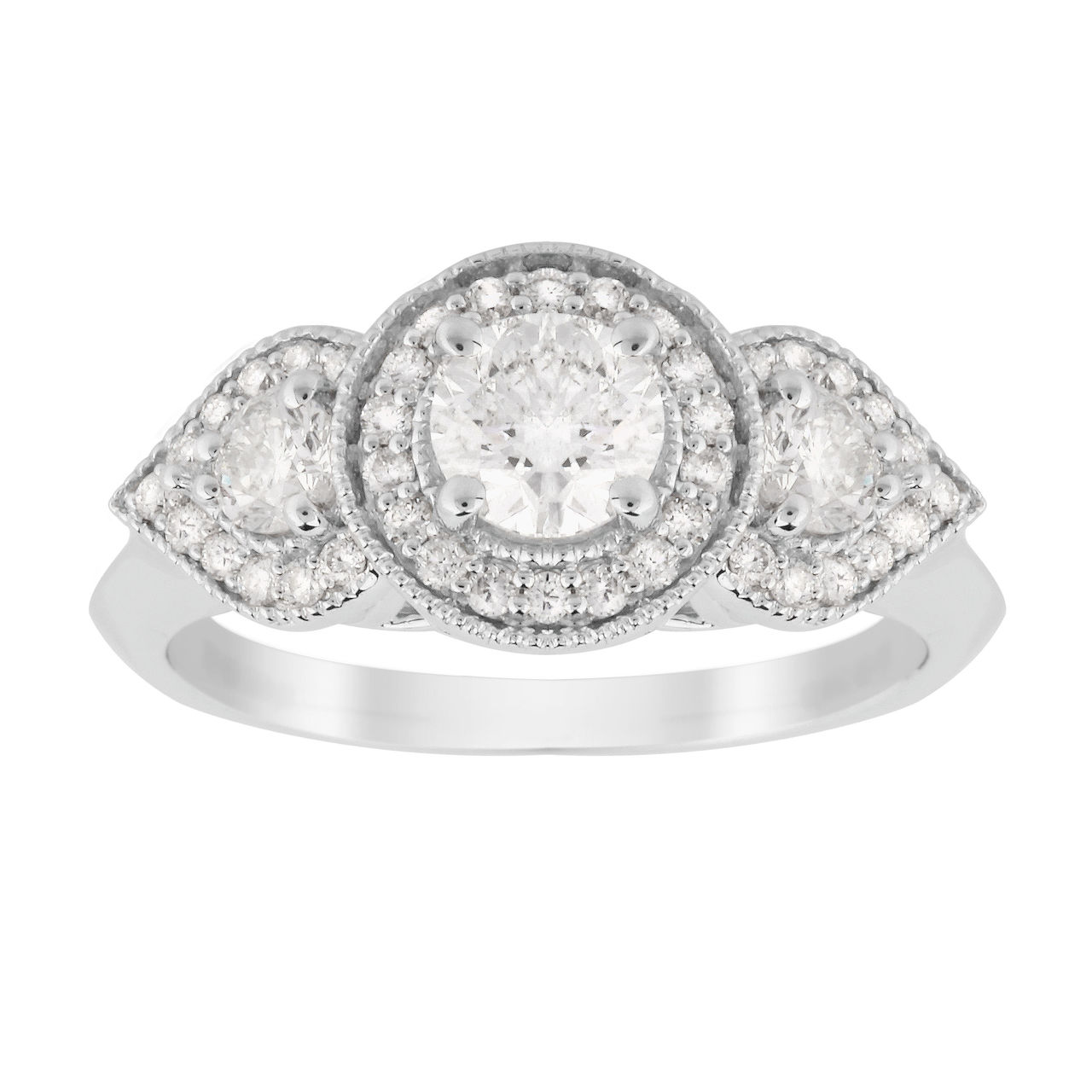 Jenny Packham Three Stone Brilliant Cut 0.95 Carat Total Weight Diamond Art Deco Style Ring in 18 Ca