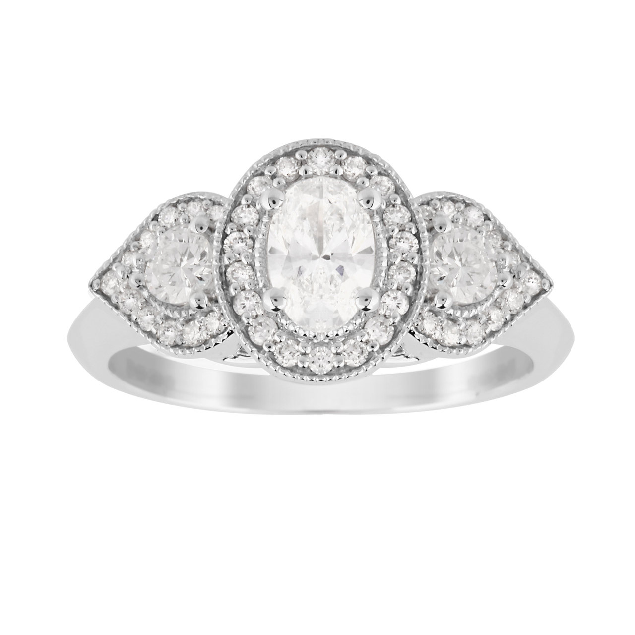 Jenny Packham Three Stone Oval Cut 0.95 Carat Total Weight Diamond Art Deco Style Ring in 18 Carat W