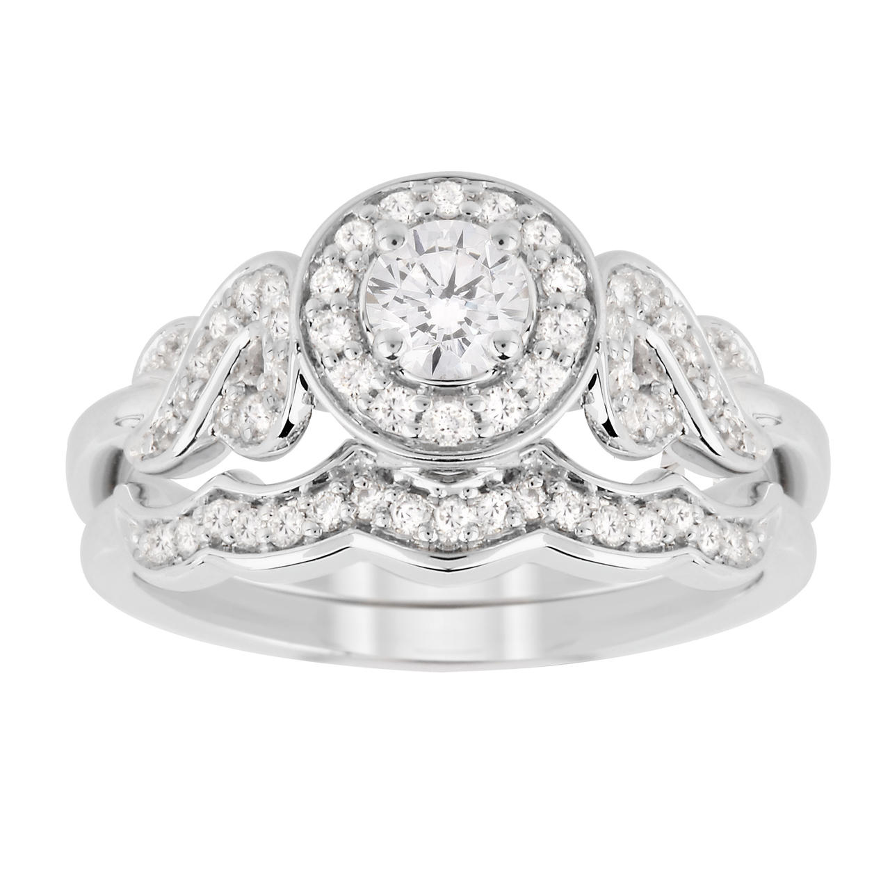 Jenny Packham Brilliant Cut 0.56 Carat Total Weight Diamond Bridal Set Ring in 18 Carat White Gold