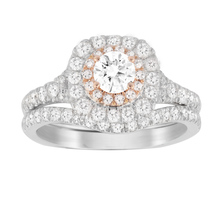 Jenny Packham Brilliant Cut 1.18 Carat Total Weight Bridal Set in Platinum and Rose Gold