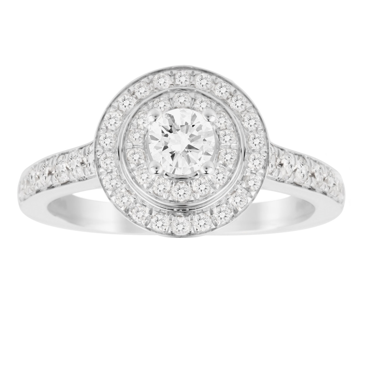 Jenny Packham Brilliant Cut 0.70 Carat Total Weight Double Halo Diamond Ring in 18 Carat White Gold