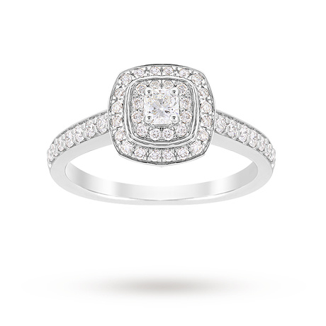 For Her - Jenny Packham Cushion Cut 0.70 Carat Total Weight Double Halo Diamond Ring in 18 Carat White Gold - Ring Size J - M37410034
