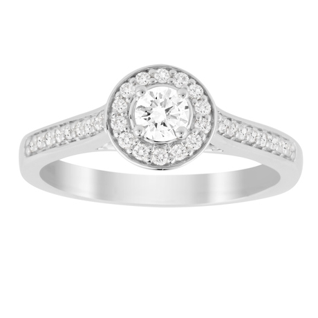 Jenny Packham Brilliant Cut 0.35 Carat Total Weight Halo Diamond Ring in 18 Carat White Gold