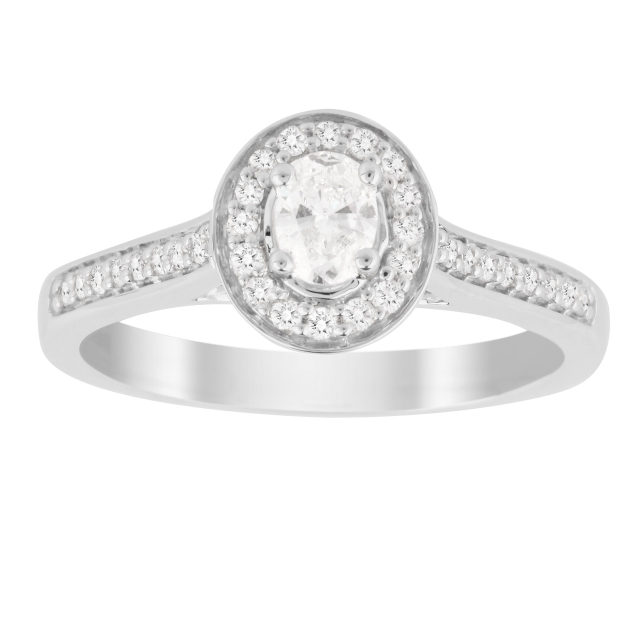 Jenny Packham Oval Cut 0.35 Carat Total Weight Halo Diamond Ring in 18 Carat White Gold
