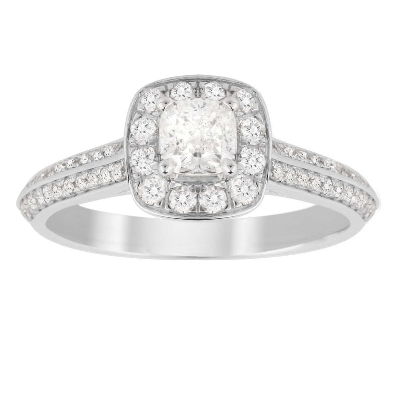 Jenny Packham Cushion Cut 0.95 Carat Total Weight Halo Diamond Ring in 18 Carat White Gold