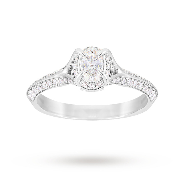 Jenny Packham Oval Cut 0.56 Carat Total Weight Solitaire Diamond Ring in 18 Carat White Gold