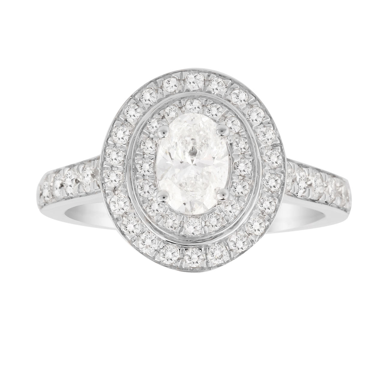 Jenny Packham Oval Cut 1.20 Carat Total Weight Double Halo Diamond Ring in 18 Carat White & Rose Gol