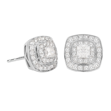 Jenny Packham 18ct White & Rose Gold 0.45ct Cushion Cut Double Halo Diamond Earrings