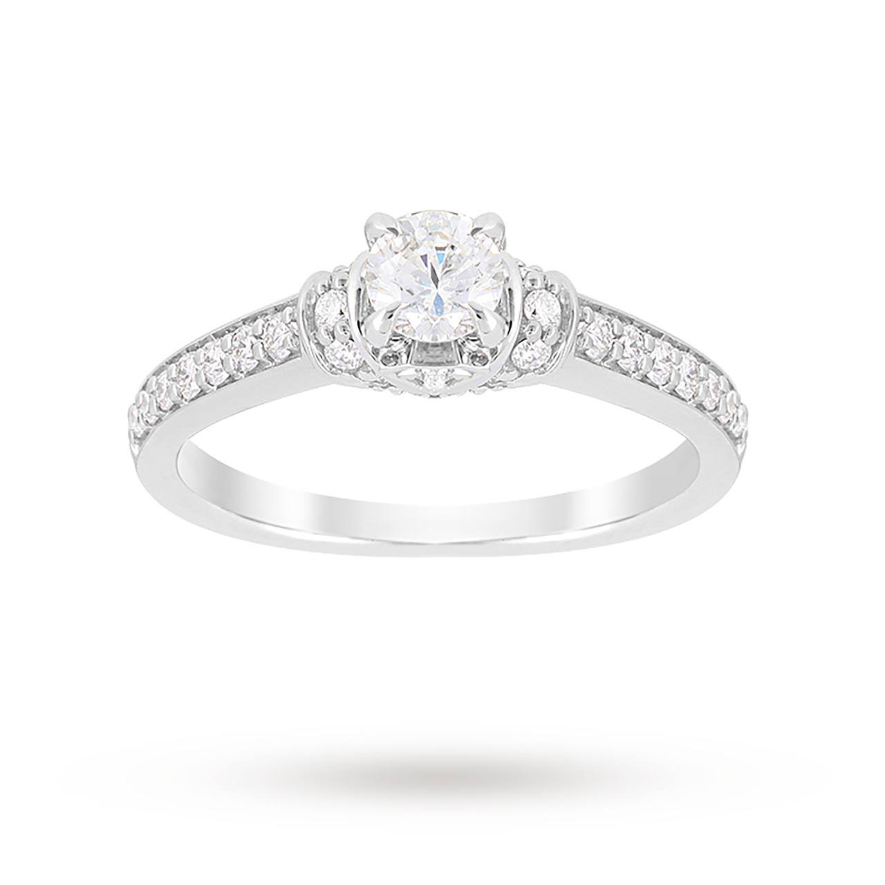 Jenny Packham Brilliant Cut 0.85 Carat Total Weight Diamond Art Deco Style Ring in Platinum