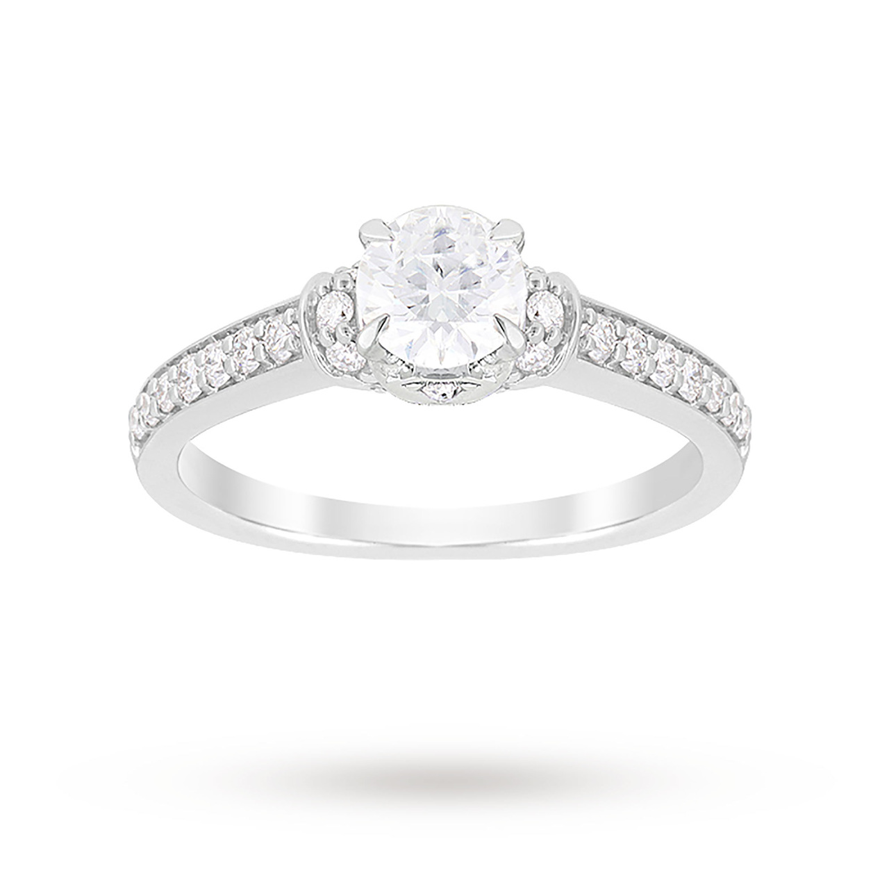 Jenny Packham Brilliant Cut 1.14 Carat Total Weight Diamond Art Deco Style Ring in Platinum
