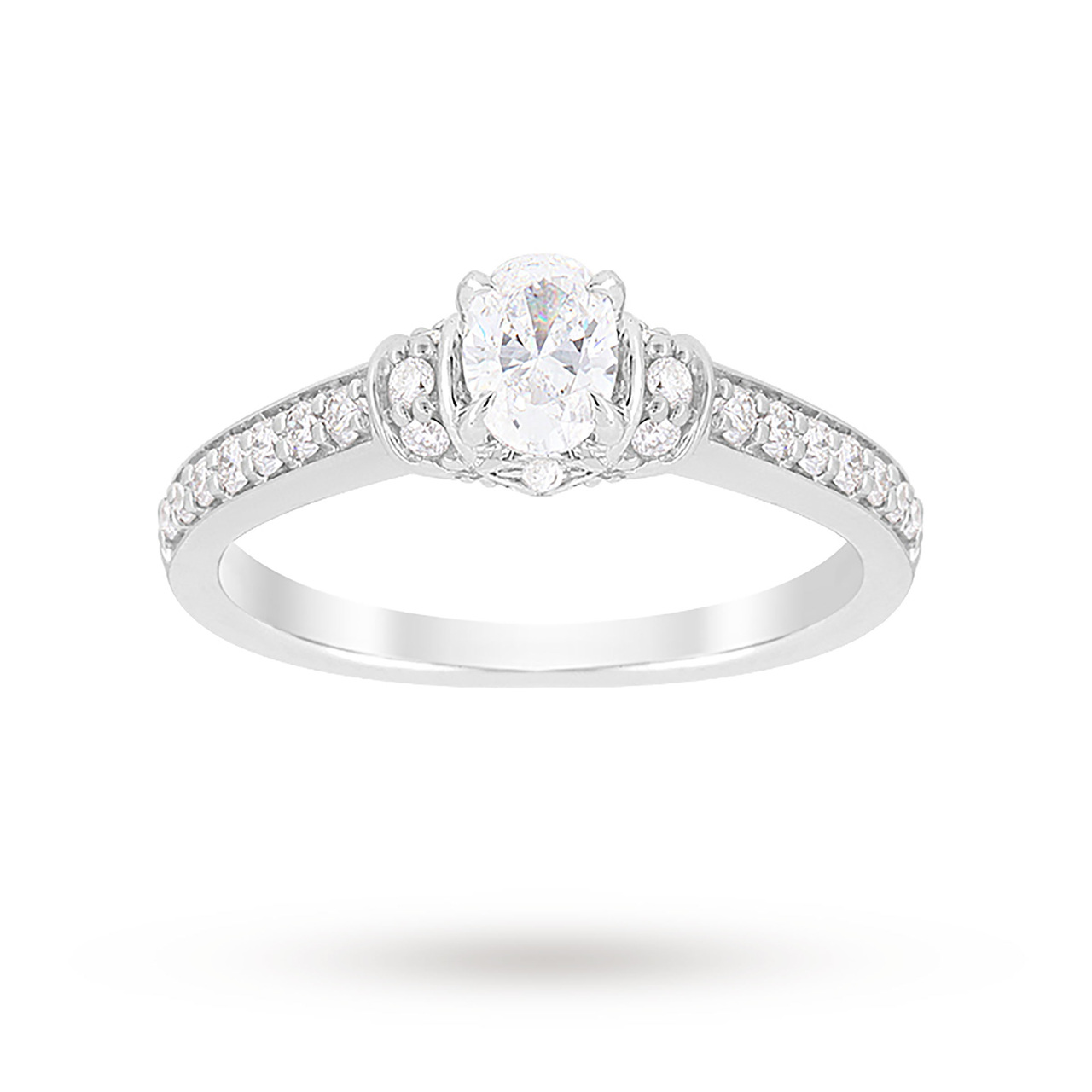 Jenny Packham Oval Cut 0.85 Carat Total Weight Diamond Art Deco Style Ring in Platinum