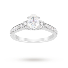 Jenny Packham Oval Cut 1.14 Carat Total Weight Diamond Art Deco Style Ring in Platinum