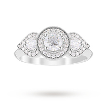 Jenny Packham Three Stone Brilliant Cut 0.95 Carat Total Weight Diamond Art Deco Style Ring in Platinum