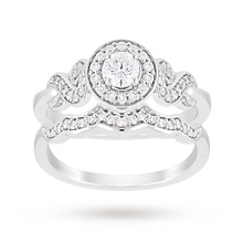Jenny Packham Brilliant Cut 0.56 Carat Total Weight Diamond Bridal Set Ring in Platinum