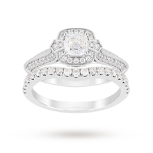Jenny Packham Cushion Cut 1.32 Carat Total Weight Diamond Bridal Set in Platinum