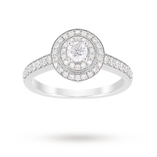 Jenny Packham Brilliant Cut 0.70 Carat Total Weight Double Halo Diamond Ring in Platinum