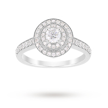 Jenny Packham Brilliant Cut 1.20 Carat Total Weight Double Halo Diamond Ring in Platinum