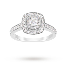 Jenny Packham Cushion Cut 1.20 Carat Total Weight Double Halo Diamond Ring in Platinum
