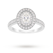 Jenny Packham Oval Cut 1.21 Carat Total Weight Double Halo Diamond Ring in Platinum