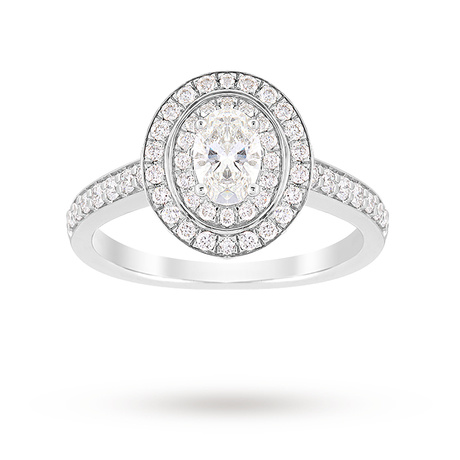 For Her - Jenny Packham Oval Cut 1.21 Carat Total Weight Double Halo Diamond Ring in Platinum - M37410036