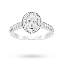 Jenny Packham Oval Cut 0.85 Carat Total Weight Halo Diamond Ring in Platinum