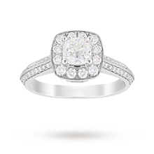 Jenny Packham Cushion Cut 0.95 Carat Total Weight Halo Diamond Ring in Platinum