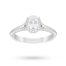 Jenny Packham Oval Cut 0.85 Carat Total Weight Solitaire Diamond Ring in Platinum
