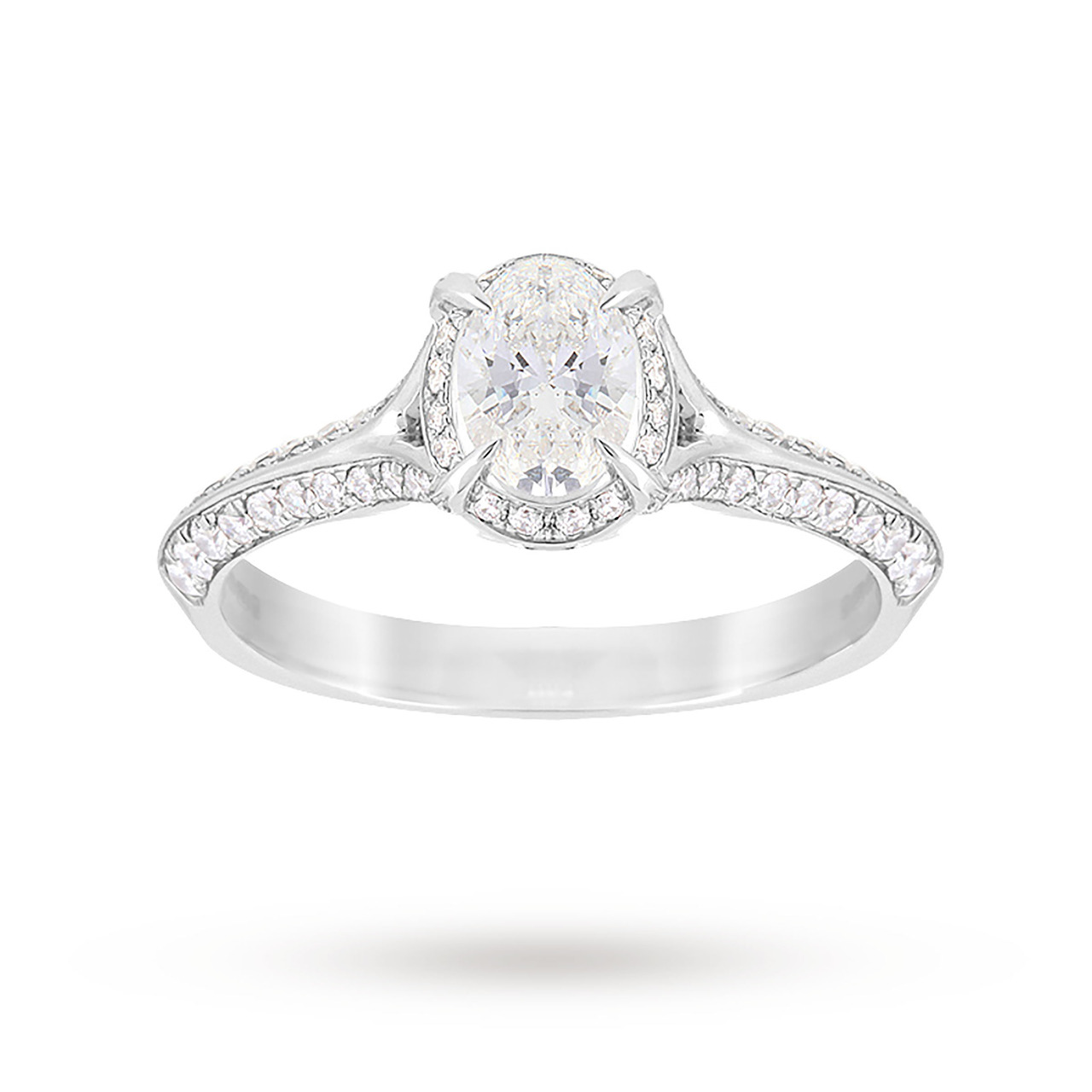 Jenny Packham Oval Cut 1.10 Carat Total Weight Solitaire Diamond Ring in Platinum