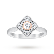 Jenny Packham 18 Carat White Gold 0.50 Carat Diamond Cluster Ring With Rose Gold Milgrain
