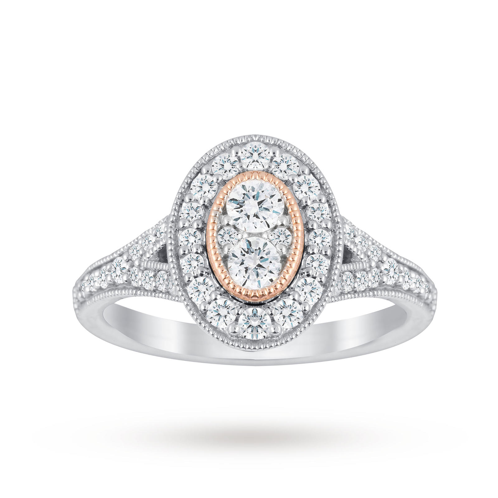 Jenny Packham 18 Carat White Gold 0.60 Carat Diamond Oval Ring With Rose Gold Milgrain