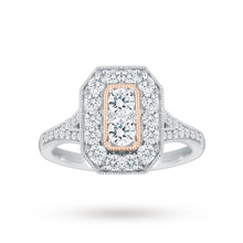 Jenny Packham 18 Carat White Gold 0.90 Carat Diamond Ring With Rose Gold Milgrain