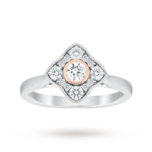 Jenny Packham Platinum 0.50 Carat Diamond Cluster Ring With Rose Gold Milgrain