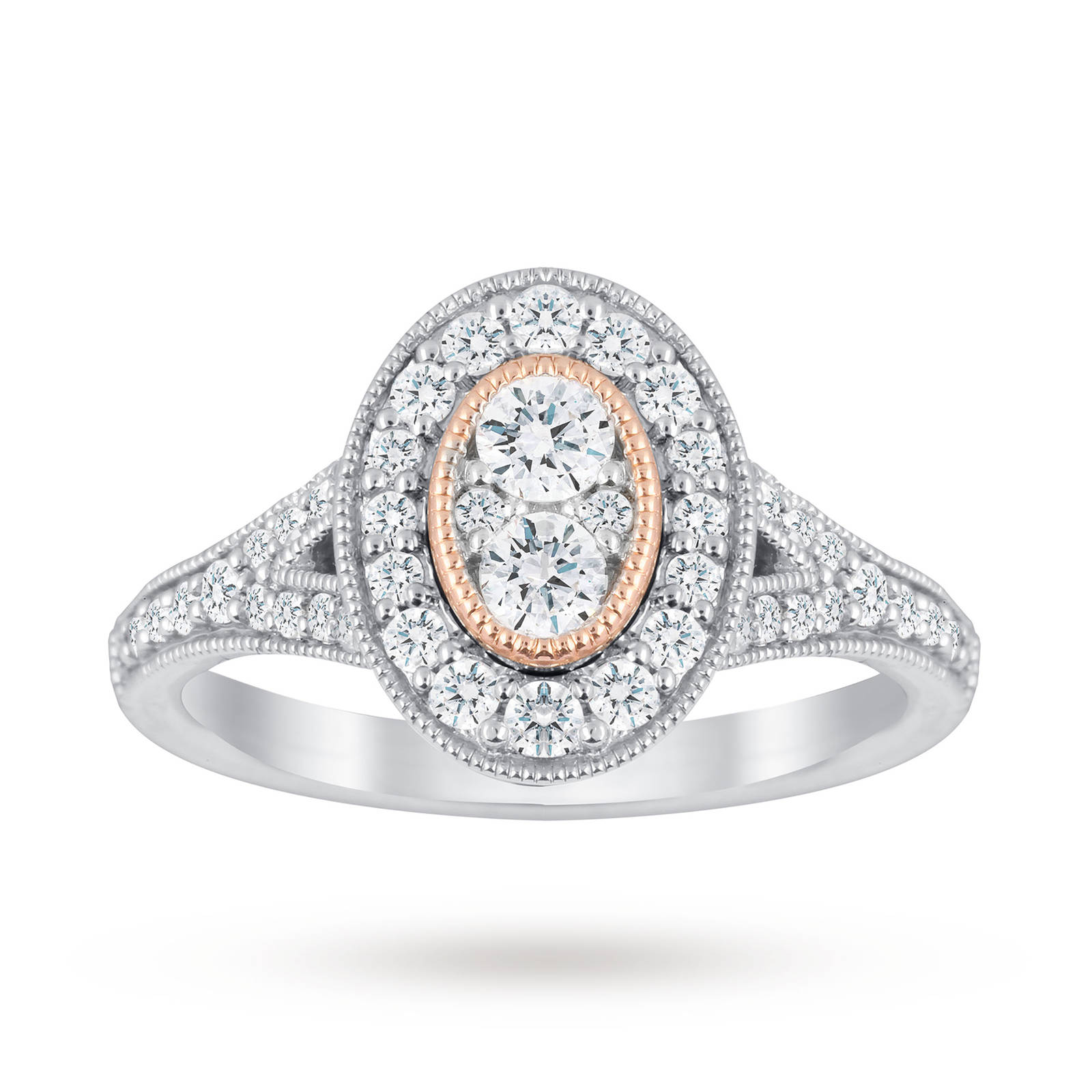 Jenny Packham Platinum 0.60 Carat Diamond Oval Ring With Rose Gold Milgrain