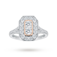 Jenny Packham Platinum 0.90 Carat Diamond Ring With Rose Gold Milgrain