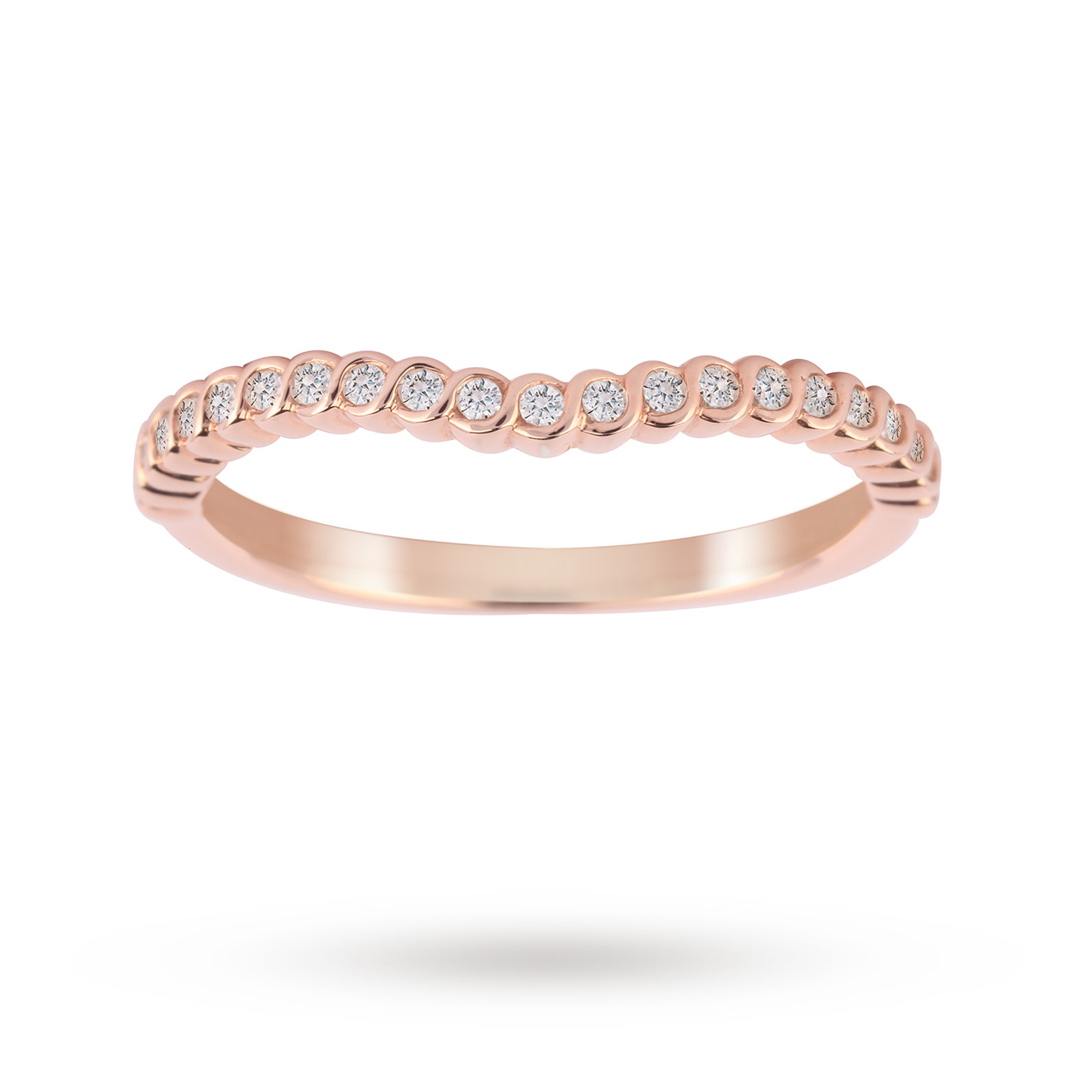 Jenny Packham 18ct Rose Gold 0.15cttw Twist Dip Band Ring