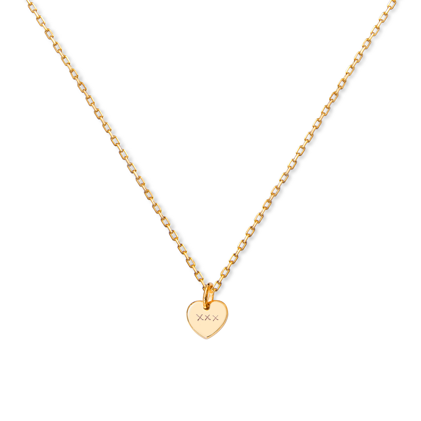 Merci Maman 18ct Yellow Gold Pated Kiss Kiss Kiss Pendant