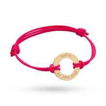 Merci Maman Enjoy The Little Things Yellow Gold Ring Bracelet On Pink Cord